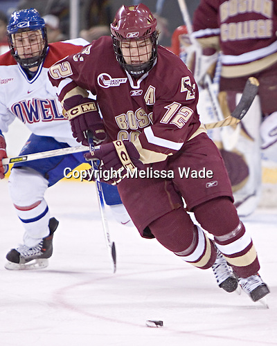 (Jeremy Hall) Chris Collins - The Boston College Eagles defeated the University of Massachusetts-Lowell River Hawks 4-3 in overtime on Saturday, January 28, 2006, at the Paul E. Tsongas Arena in Lowell, Massachusetts.