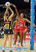 03.09.2017 England's Geva Mentor in action during the Quad Series netball match between England and South Africa at the ILT Stadium Southland in Invercargill. Mandatory Photo Credit ©Michael Bradley.
