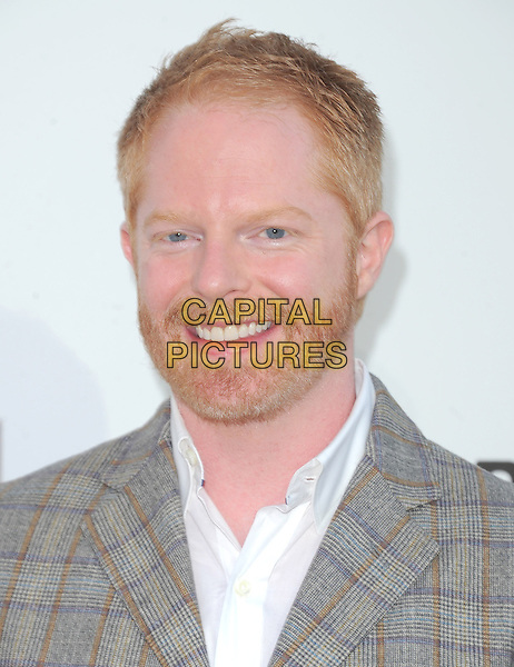 "Jesse Tyler Ferguson.""The Book of Mormon"" Hollywood Opening night Held At The Pantages theatre, Hollywood, California, USA..September 12th, 2012.headshot portrait grey gray suit check white shirt beard facial hair .CAP/DVS.©DVS/Capital Pictures."