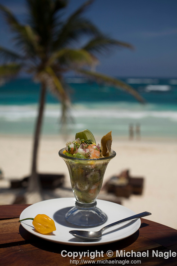 TULUM, MEXICO - APRIL 28, 2009:  Ceviche on the deck of the restaurant at Ocho Tulum on April 28, 2009 in Tulum, Mexico.  (PHOTOGRAPH BY MICHAEL NAGLE)