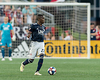 FOXBOROUGH, MA - JUNE 26: Luis Caicedo #27 looks to pass during a game between Philadelphia Union and New England Revolution at Gillette Stadium on June 26, 2019 in Foxborough, Massachusetts.