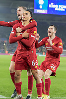 26th December 2019; King Power Stadium, Leicester, Midlands, England; English Premier League Football, Leicester City versus Liverpool; Trent Alexander Arnold of Liverpool celebrates with his team after scoring in the 78th minute 0-4 - Strictly Editorial Use Only. No use with unauthorized audio, video, data, fixture lists, club/league logos or 'live' services. Online in-match use limited to 120 images, no video emulation. No use in betting, games or single club/league/player publications