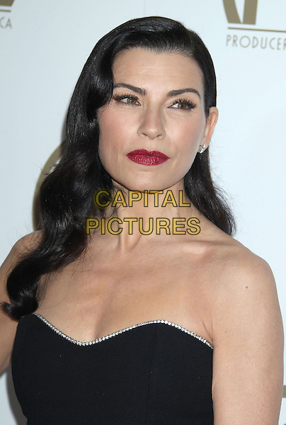 Julianna Margulies.At the 24th Annual Producers Guild Awards held at the Beverly Hilton Hotel, Beverly Hills, California, USA,.26th January 2013..PGAs PGA arrivals headshot portrait black  strapless dark red lipstick diamante trim.CAP/ADM/RE.©Russ Elliot/AdMedia/Capital Pictures.