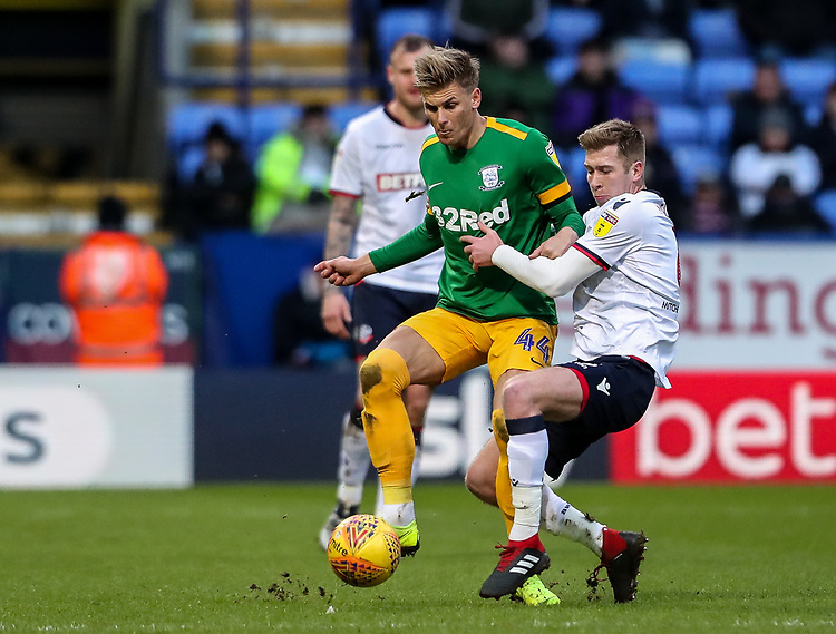 Bolton Wanderers' Josh Vela competing with Preston North End's Brad Potts  <br /> <br /> Photographer Andrew Kearns/CameraSport<br /> <br /> The EFL Sky Bet Championship - Bolton Wanderers v Preston North End - Saturday 9th February 2019 - University of Bolton Stadium - Bolton<br /> <br /> World Copyright &copy; 2019 CameraSport. All rights reserved. 43 Linden Ave. Countesthorpe. Leicester. England. LE8 5PG - Tel: +44 (0) 116 277 4147 - admin@camerasport.com - www.camerasport.com