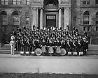 GPHR 45/1995:  Notre Dame Marching Band Group photo on the steps of Bond Hall, Fall 1953.<br /> This photo was published in the 1954 Dome yearbook, page 302.  Image from the University of Notre Dame Archives.