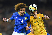 June 13th 2017, Melbourne Cricket Ground, Melbourne, Australia; International Football Friendly; Brazil versus Australia; David Luiz Marinho of Brazil gets his header  towards goal