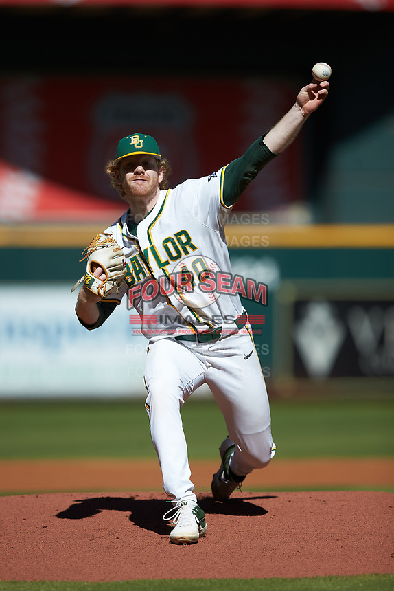 Baylor Bears starting pitcher Paul Dickens (40) delivers a pitch to the plate against the Missouri Tigers in game one of the 2020 Shriners Hospitals for Children College Classic at Minute Maid Park on February 28, 2020 in Houston, Texas. The Bears defeated the Tigers 4-2. (Brian Westerholt/Four Seam Images)
