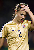 US WNT defender Heather Mitts (2) displays her emotion as ball narrowly misses it's mark. The US Women defeated China 1-0 at Home Depot Center stadium in Carson, California on Saturday December 13, 2008. Photo by Michael Janosz