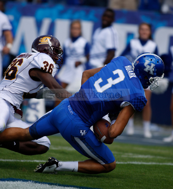 The University of Kentucky football team played Central Michigan University, in Commonwealth Stadium, on Saturday, September 10, 2011. The pass to UK wide receiver Matt Roark was ruled incomplete. Photo by Latara Appleby | Staff ..