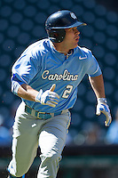 North Carolina Tar Heels outfielder Chaz Frank #2 hustles down the first base line against the California Golden Bears in the NCAA baseball game on March 2nd, 2013 at Minute Maid Park in Houston, Texas. North Carolina defeated Cal 11-5. (Andrew Woolley/Four Seam Images)