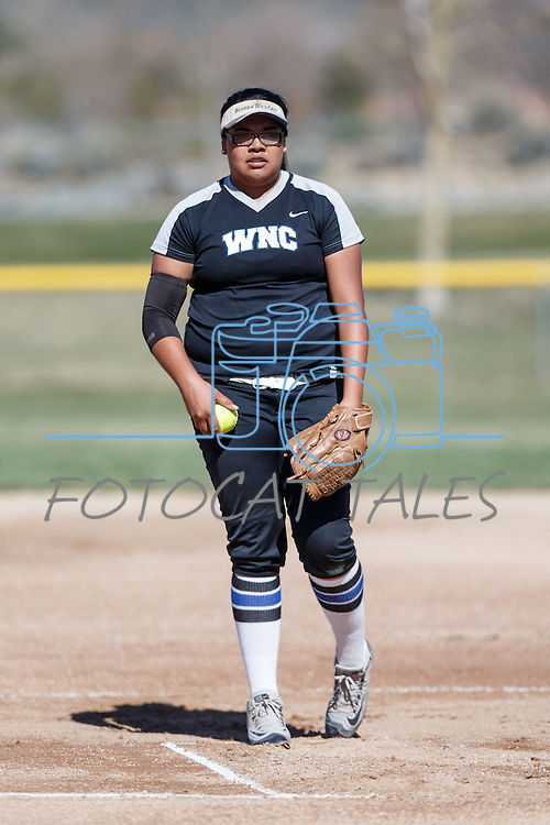 Western Nevada's Kaitlyn Jimmy pitches against Colorado North Western at Edmonds Sports Complex Carson City, Nev., on Friday, March 18, 2016.<br /> Photo by Jeff Mulvihill, Jr.