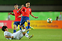 2nd November 2019; Kleber Andrade Stadium, Cariacica, Espirito Santo, Brazil; FIFA U-17 World Cup Brazil 2019, Chile versus Korea Republic; Danilo Diaz of Chile slide tackled by Yoon Sukju of Korea Republic