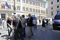 Roma, 22 Giugno 2011.Roma, Piazza Montecitorio.Presidio dei precari a Montecitorio.Tafferugli e lancio di ortaggi davanti il parlamento..Il presidio viene sgomberato e i manifestanti improvvisano un corteo per poi ritornare nella piazza.Paolo Di Vetta dei blocchi precari metropolitani allontanato dalla polizia