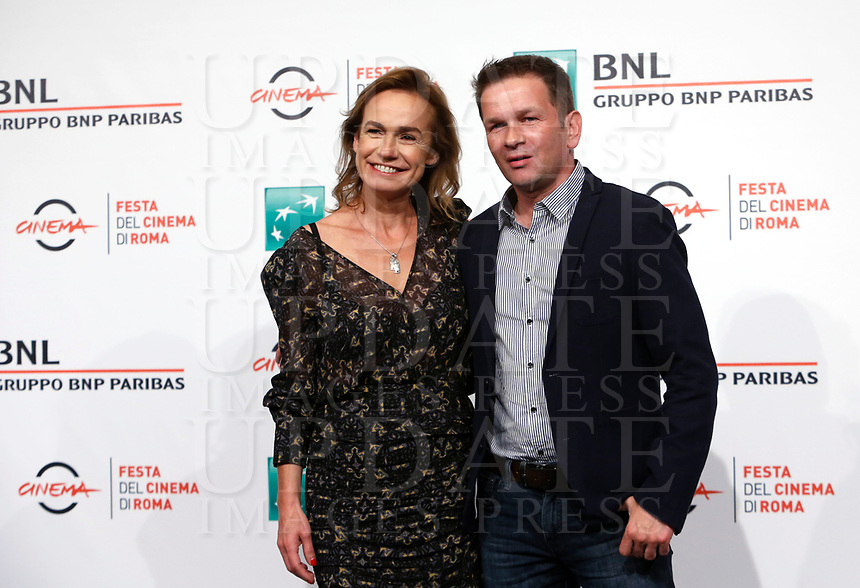 """French actress Sandrine Bonnaire, left, and director Gael Morel pose during a photo call to present the movie """"Prendre le large"""" (""""Catch the wind"""") during the international Rome Film Festival at Rome's Auditorium, 29 October 2017.<br /> UPDATE IMAGES PRESS/Riccardo De Luca"""