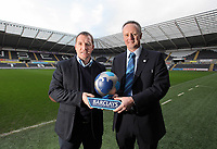 Pictured: Swansea City FC manager Brendan Rodgers (L) receiving the Barclays manager of the Month Award at the Liberty Stadium, south Wales. Tuesday 07 February 2012