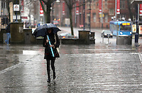 2014 01 31 Rainy weather in Oxford Street, Swansea, Wales UK