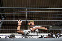 June 27, 2018: A young kid attends the closing campaign rally of Andres Manuel Lopez Obrador, the opposition candidate of MORENA party running for presidency, at the Azteca stadium, the country's largest soccer stadium, in Mexico City, Mexico. National elections will be hold on July 1.