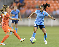 Houston, TX - Friday April 29, 2016: Andressa (17) of the Houston Dash attempts to steal the ball from Taylor Lytle (6) of Sky Blue FC at BBVA Compass Stadium. The Houston Dash tied Sky Blue FC 0-0.