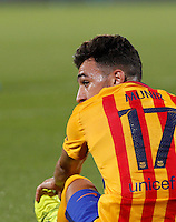 Calcio: amichevole Fiorentina vs Barcellona. Firenze, stadio Artemio Franchi, 2 agosto 2015.<br /> FC Barcelona's Munir El Haddadi reacts during the friendly match between Fiorentina and FC Barcelona at Florence's Artemio Franchi stadium, 2 August 2015.<br /> UPDATE IMAGES PRESS/Riccardo De Luca