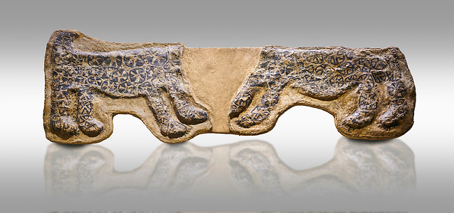 painted leopard relief. The people of Catalhoyuk had a special religious meaning with leopards. These platered reliefs have many coats of plater indicating their long term importance. 6000 BC,  Catalhoyuk Collections. Museum of Anatolian Civilisations, Ankara. Against a grey background