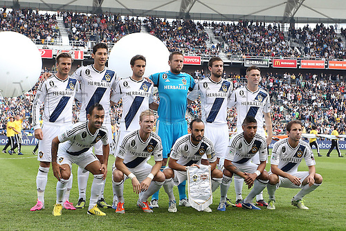 01.12.2012. Home Deport center, Carson, California, USA. Galaxy starters. Front row (l to r): Juninho (BRA), Christian Wilhemsson (SWE), Landon Donovan, Sean Franklin, Mike Magee. Back row: David Beckham (ENG), Omar Gonzalez, Todd Dunivant, Josh Saunders, Tommy Meyer, Robbie Keane (IRL). The Los Angeles Galaxy played the Houston Dynamo at the Home Depot Center in Carson, California in MLS Cup 2012. Los Angeles won the game 3-1.