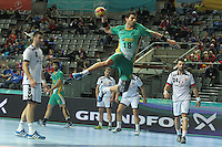 18.01.2013 Barcelona, Spain. IHF men's world championship, prelimanary round. Picture show Felipe Borges Dutra Ribeiro    in action during game between Montenegro vs Brazil at Palau St Jordi