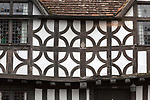 Sixteenth century half timbered architecture details of buildings in High Street, Potterne Wiltshire, England, UK