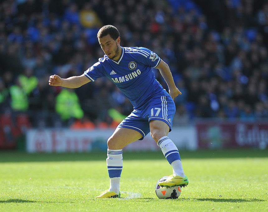 Chelsea's Eden Hazard in action during todays match  <br /> <br /> Photographer Ashley Crowden/CameraSport<br /> <br /> Football - Barclays Premiership - Cardiff City v Chelsea - Sunday 11th May 2014 - Cardifff City Stadium - Cardiff<br /> <br /> &copy; CameraSport - 43 Linden Ave. Countesthorpe. Leicester. England. LE8 5PG - Tel: +44 (0) 116 277 4147 - admin@camerasport.com - www.camerasport.com