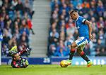 07.04.2018 Rangers v Dundee:<br /> Alfredo Morelos dinks the ball past keeper Elliot Parish for Rangers second goal