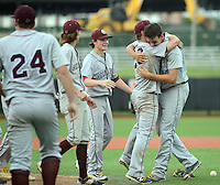 Holy Cross players celebrate with pitcher Jeff Undercuffler (right) on the field after defeating Gill St. Bernard's to win the NJSIAA South Jersey Non-Public B championship baseball game Tuesday June 7, 2016 at Rutgers University in Piscataway, New Jersey.  (Photo by William Thomas Cain)
