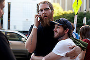 Within the first hour of the festival, Brad Cook and Martin Anderson enact what would become a common event throughout the Hopscotch weekend; bearded dudes embracing on the street.
