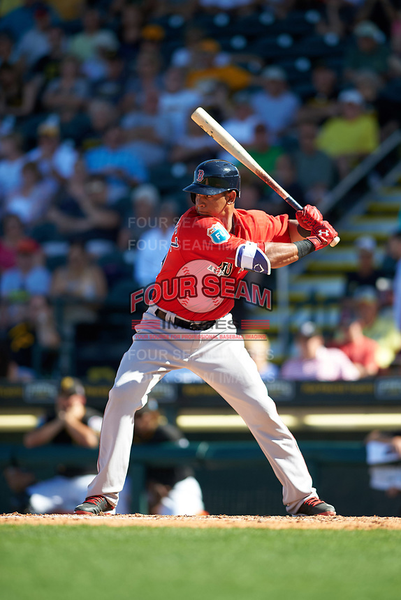 Boston Red Sox shortstop Marco Hernandez (79) at bat during a Spring Training game against the Pittsburgh Pirates on March 9, 2016 at McKechnie Field in Bradenton, Florida.  Boston defeated Pittsburgh 6-2.  (Mike Janes/Four Seam Images)