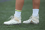 A member of the High Point Panthers women's lacrosse team wears a pair of Adidas cleats prior to the start of the match against the Furman Purple Paladins at Vert Track, Soccer & Lacrosse Stadium on February 10, 2018 in High Point, North Carolina.  The Panthers defeated the Purple Paladins 17-6.  (Brian Westerholt/Sports On Film)