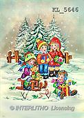 Interlitho, Dani, CHRISTMAS SANTA, SNOWMAN, nostalgic, paintings, 4 kids, sleigh, trees(KL5646,#X#) Weihnachten, nostalgisch, Navidad, nostálgico, illustrations, pinturas