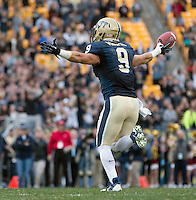 Pitt safety Roy Vinopal celebrates his fumble recovery. The North Carolina Tar Heels defeated the Pitt Panthers 34-27 at Heinz Field, Pittsburgh Pennsylvania on November 16, 2013.