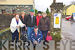 Residents in Beaufort fear that some-one will be knocked down on the road as pedestrians are forced to walk onto the main route in the village due to a wall blocking the footpath that leads to the local shop .Pictured Cllr Mike Rae front with L-R Bridie O'Shea, .Agnes Harrington, Mick O'Shea, Noreen Mangan and Maureen Devane