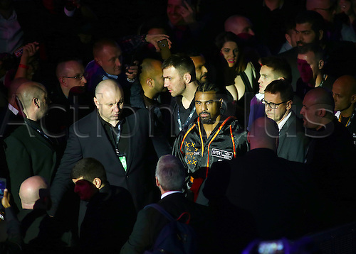 March 4th 2017, O2 Arena, London England; Heavyweight Boxing David Haye versus Tony Bellew; David Haye makes his way to the ring for his Heavyweight contest with Tony Bellew