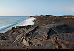 Pahoehoe Lava from Kilauea Eruption at Sunrise, Kaimu Beach at Kalapana, Black Sand Beach, Kaimu Bay, Puna District, Big Island of Hawaii