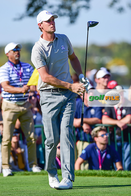 Thomas Pieters (BEL) watches his tee shot on 11 during the Saturday afternoon four ball at the Ryder Cup, Hazeltine National Golf Club, Chaska, Minnesota, USA.  10/1/2016<br /> Picture: Golffile | Ken Murray<br /> <br /> <br /> All photo usage must carry mandatory copyright credit (&copy; Golffile | Ken Murray)