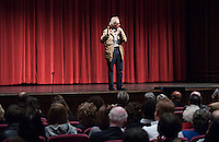 Artist Christo speaks at Occidental College after receiving an honorary degree, Wednesday, February 23, 2011 in Los Angeles, Calif. (Photo by Marc Campos, Occidental College Photographer)