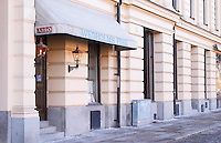 The entrance front of the high class gastronomic restaurant Wedholms Fisk (Wedholm's Fish) Stockholm, Sweden, Sverige, Europe