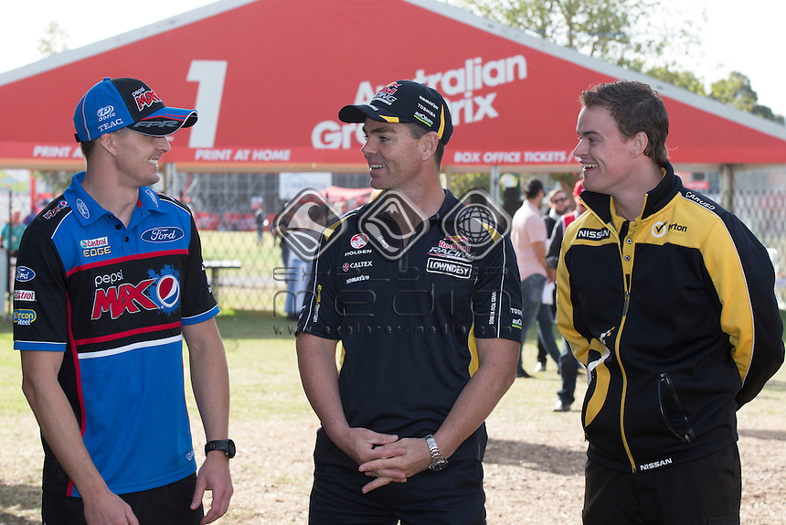 Mark Winterbottom, Craig Lowndes and James Moffat during the Melbourne Grand Prix, Melbourne Grand Prix  2014 Australian V8 Supercars  at the Albert Park, Melbourne, Victoria, March 13, 2014.<br /> &copy; Sport the library / Mark Horsburgh