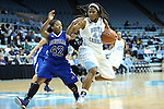 25 November 2012: North Carolina's Tierra Ruffin-Pratt (44) and Asheville's Shonese Jones (42). The University of North Carolina Tar Heels played the UNC Asheville Bulldogs at Carmichael Arena in Chapel Hill, North Carolina in an NCAA Division I Women's Basketball game. UNC won the game 101-42.