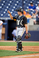 Bradenton Marauders catcher Christian Kelley (27) signals to the defense during the first game of a doubleheader against the Tampa Yankees on April 13, 2017 at George M. Steinbrenner Field in Tampa, Florida.  Bradenton defeated Tampa 4-1.  (Mike Janes/Four Seam Images)