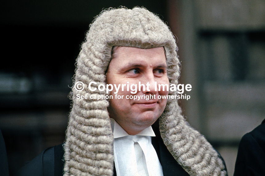 John Creaney, senior barrister, N Ireland, UK, photographed in January 1973 when he took silk. After graduation from Queen's University, Belfast, and a spell at Trinity College, Dublin, he became a pupil of Basil Kelly, who was later to become Lord Justice Kelly of the N Ireland Court of Appeal. As a senior prosecuting council from 1978 until his death in June 2008, Creaney participated in many important terrorist trials. 197301000058b.<br />