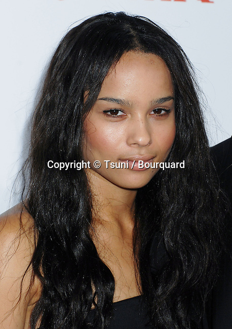 Zoe Kravitz arriving at the 3:10 to Yuma Premiere at the National Theatre in Los Angeles.<br /> <br /> headshot<br /> eye contact<br /> black dress