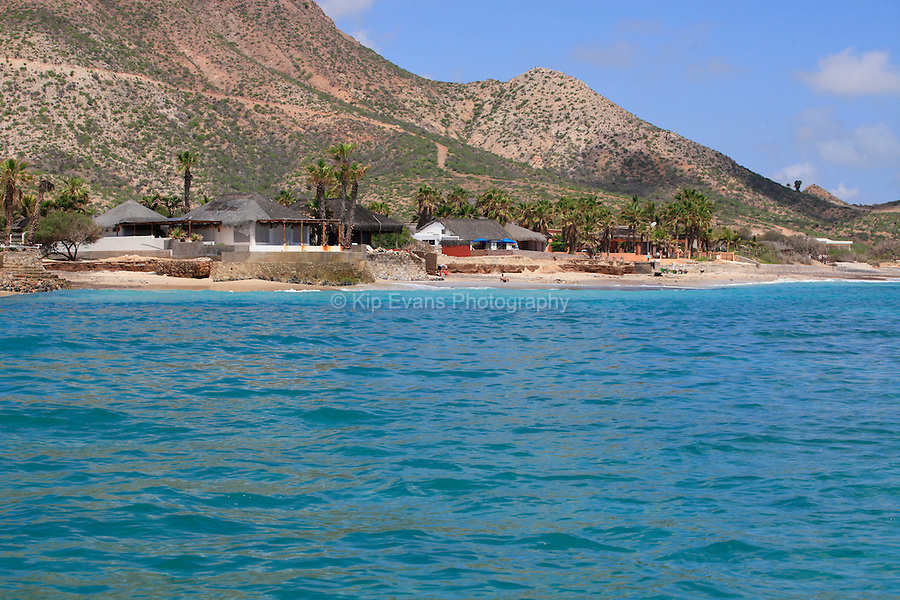 Houses along the beach in Cabo Pulmo, Mexico.