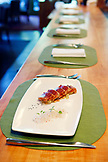 USA, California, Healdsburg, a view of the dishes offered at Dry Creek Kitchen in Alexander Valley