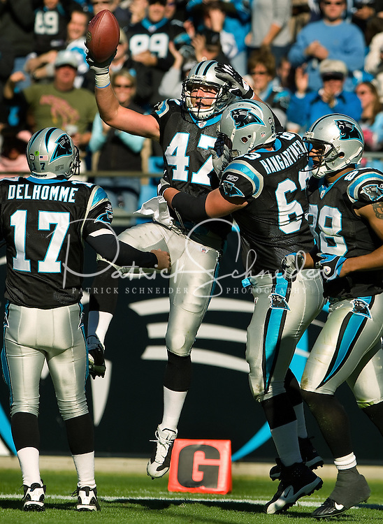 Carolina Panthers tight end Jeff King (47) celebrates a touchdown against the Detroit Lions during an NFL football game at Bank of America Stadium in Charlotte, NC.