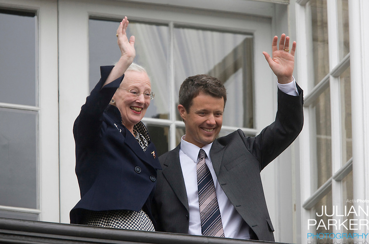 Crown Prince Frederick with Queen Margrethe of Denmark on the Balcony of Amalienborg Palace in Copenhagen to celebrate Crown Prince Frederiks 40th Birthday